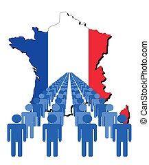 people with France map flag - Lines of people with France...