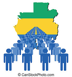 people with Gabon map flag - Lines of people with Gabon map...