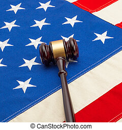 Judge gavel with US flag - 1 to 1 ratio
