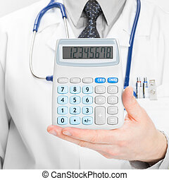 Medical doctor with calculator in his left hand - 1 to 1...