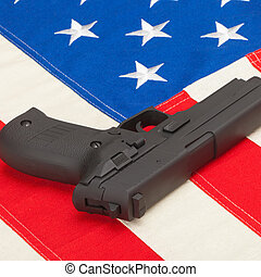 Handgun over US flag - 1 to 1 ratio
