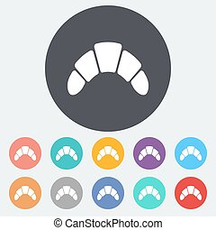 Croissant. Single flat icon on the circle. Vector...
