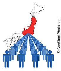 people with Japan map flag