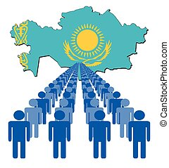 People with Kazakhstan map flag - Lines of people with...