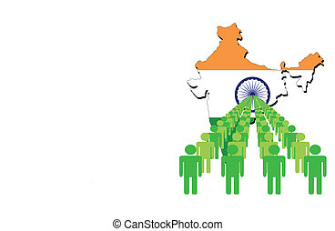 people with India map flag - Lines of people with India map...