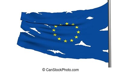 europe flag 3d animation on white background