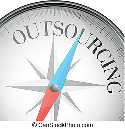 compass outsourcing - detailed illustration of a compass...