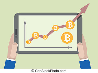 tablet bitcoin growth - minimalistic illustration of a...