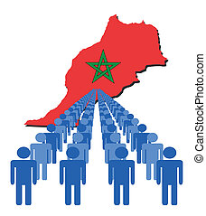 people with morocco map flag