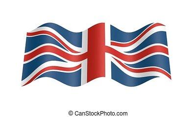 England flag wavy, 3d animation