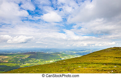 Patchy landscape of Carlow in Ireland