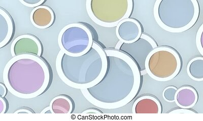 background with colored lens objects, 3d animation loop