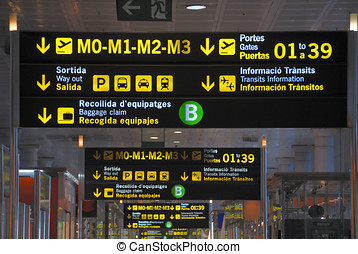 Sign at airport showing the route to the gates