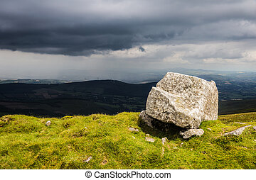 Big rock on a mountain ridge