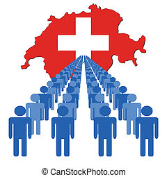 people with Switzerland map flag
