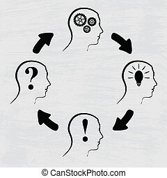 Process of human thinking - Black silhouette of man heads in...