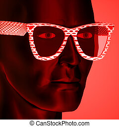 Dictator portrait on red background