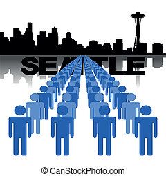 people with Seattle skyline