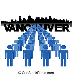people with Vancouver skyline