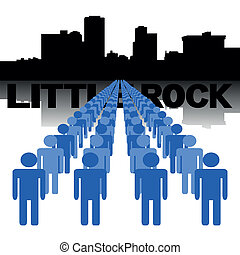 people with Little Rock skyline - Lines of people with...