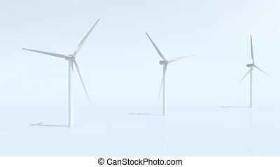 three wind turbine on blue background, 3d animation loop