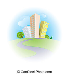 City - Cute cartoon skyscrapers among trees in sunny day