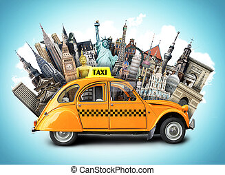 Travel and taxi - Retro taxi on the background of landmarks,...
