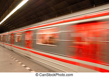 Train arriving in the subway station