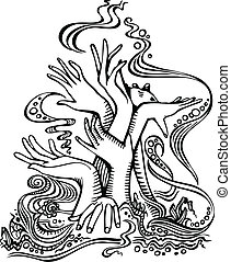 hand tree - Tree of hands Ornament Drawing