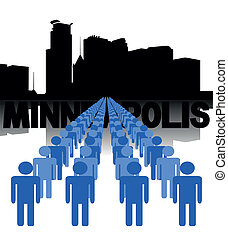 people with Minneapolis skyline - Lines of people with...