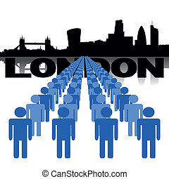people with London skyline - Lines of people with London...
