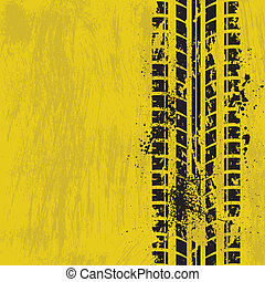 Tire track yellow - Grunge yellow background with black tire...