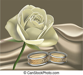 Celtic Rose - White rose with silk cloth and celtic wedding...