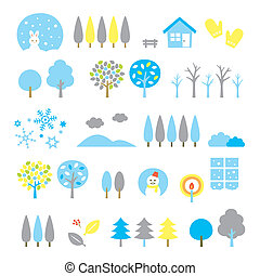 trees set winter, vector file