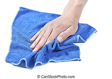 Cleaning surface with a blue cloth - Cleaning surface with a...