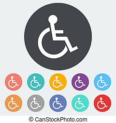 Disabled single icon - Disabled Single flat icon on the...