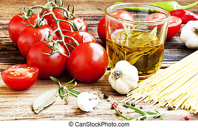 Cherry Tomatoes, Olive Oil,Pasta and Spices,Italian Ingredients