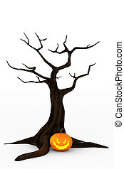 Jack Orsquo;Lantern and Spooky Tree - Glowing Jack...