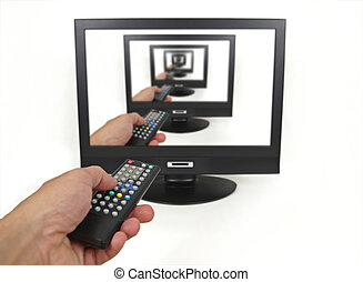 Using a TV remote control isolated on white
