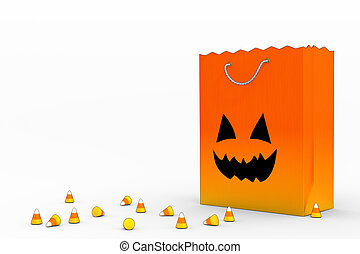 Candy Corn and Bag - Candy bag with scattered candy corn;...