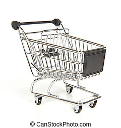 Empty shopping cart isolated on a white background