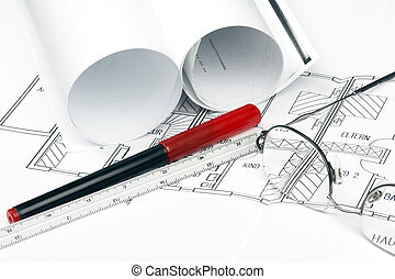 Site plan - Blueprint site plan with glasses