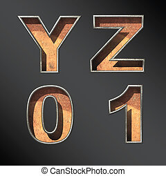 Vector old metal alphabet letters set