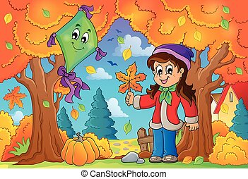 Autumn theme with girl and kite - eps10 vector illustration.
