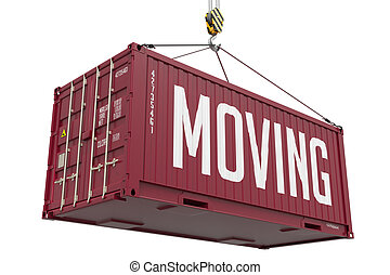 Moving - Red Hanging Cargo Container. - Moving - Red Cargo...