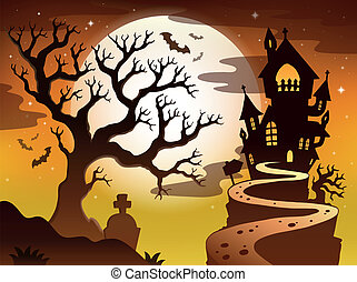 Spooky tree topic image 1 - eps10 vector illustration.