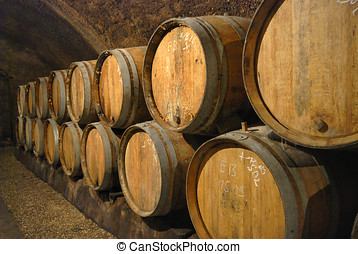 Wine cave - Old wine cave with wooden barrels