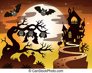 Theme with Halloween silhouette 2