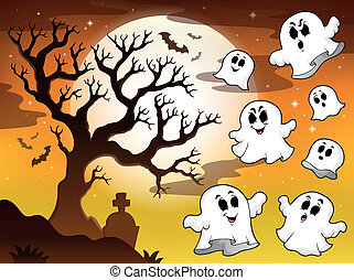 Spooky tree topic image 2 - eps10 vector illustration.