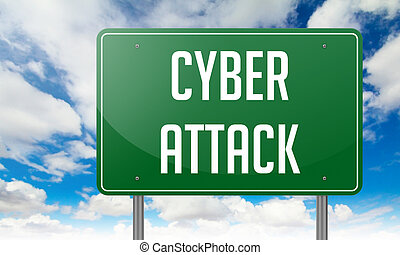 Cyber Attack on Highway Signpost - Highway Signpost with...